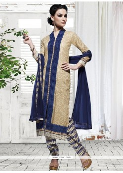 Beige And Navy Blue Cotton Pant Style Suit