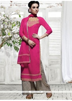 Charming Cotton Embroidered Work Designer Palazzo Suit
