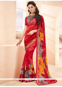Sterling Red Printed Saree