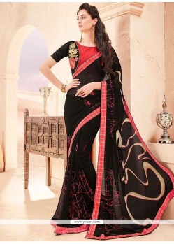 Lovely Faux Georgette Black Printed Saree