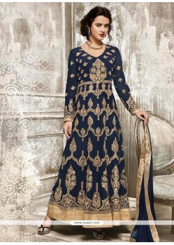 Invigorating Faux Georgette Navy Blue Embroidered Work Floor Length Anarkali Suit