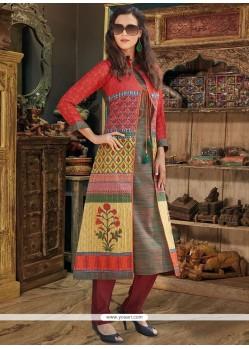 Delectable Print Work Chanderi Cotton Party Wear Kurti