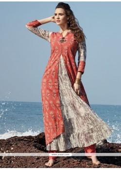 Fantastic Print Work Multi Colour Chanderi Cotton Party Wear Kurti