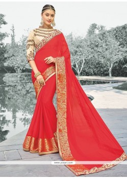 Attractive Viscose Red Zari Work Classic Designer Saree