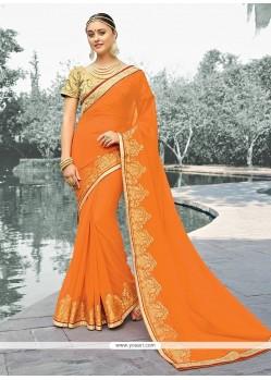 Staggering Embroidered Work Orange Designer Saree