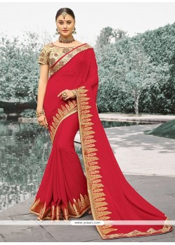 Heavenly Lace Work Maroon Classic Saree