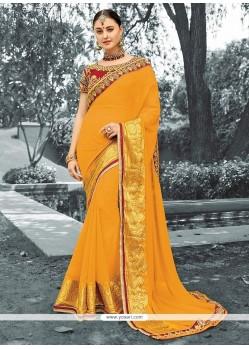 Incredible Mustard Lace Work Viscose Classic Designer Saree