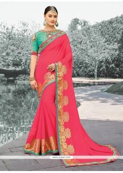Catchy Faux Georgette Rose Pink Zari Work Designer Saree
