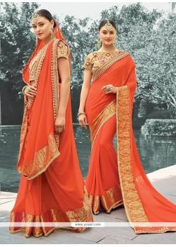 Grandiose Orange Jacquard Designer Saree