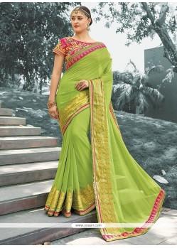 Innovative Jacquard Green Lace Work Classic Saree