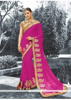 Praiseworthy Patch Border Work Faux Georgette Classic Designer Saree
