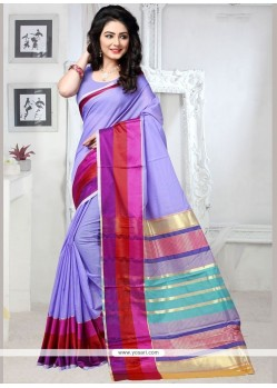 Weaving Cotton Silk Casual Saree In Blue