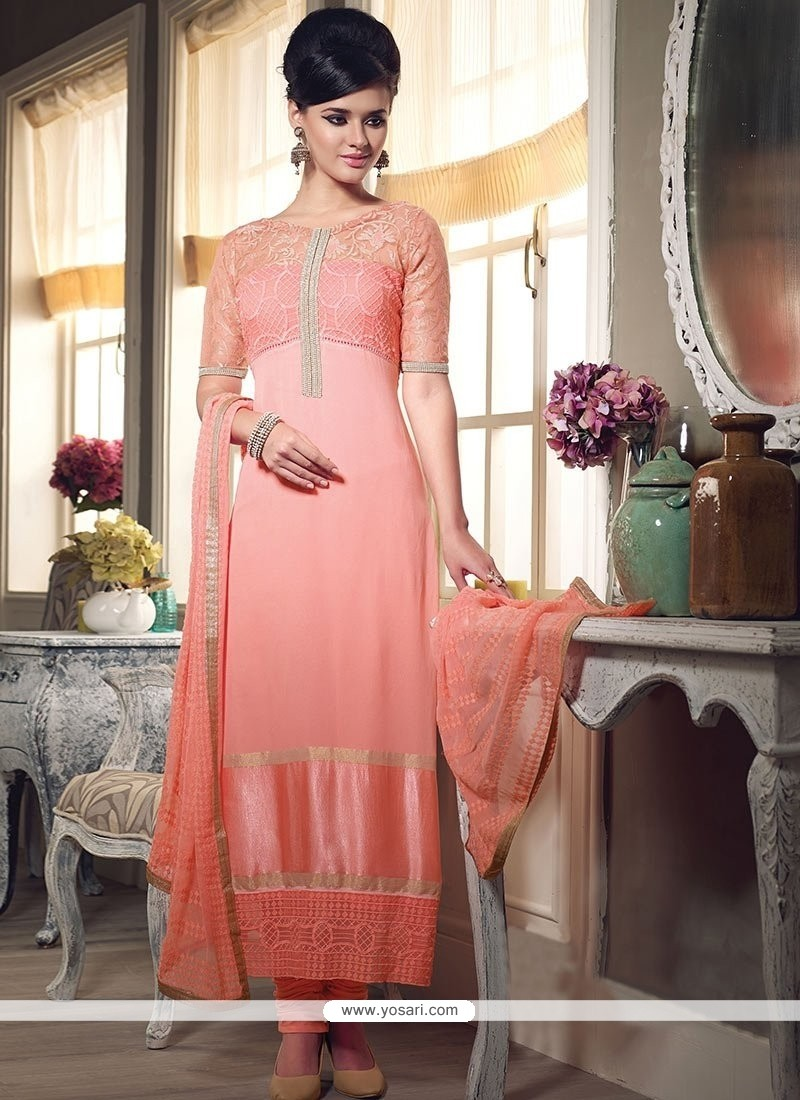 Glorious Peach Georgette Churidar Suit