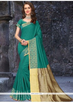 Engrossing Sea Green Banarasi Silk Designer Traditional Saree