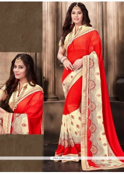 Dainty Faux Georgette Embroidered Work Designer Saree