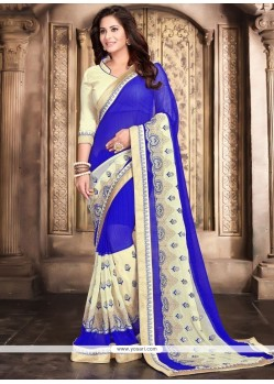 Fashionable Faux Georgette Blue Classic Designer Saree