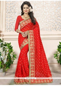 Customary Faux Georgette Red Classic Saree