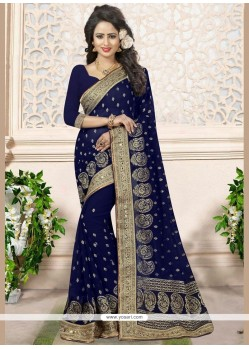 Topnotch Faux Georgette Patch Border Work Designer Saree