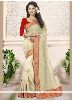 Tantalizing Faux Georgette Beige Embroidered Work Classic Designer Saree