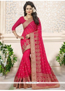 Aspiring Patch Border Work Hot Pink Faux Georgette Designer Saree