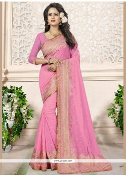 Impressive Embroidered Work Faux Georgette Classic Saree