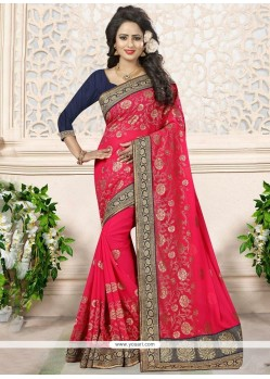 Bedazzling Hot Pink Embroidered Work Faux Georgette Designer Saree