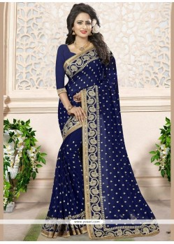 Titillating Navy Blue Embroidered Work Classic Designer Saree