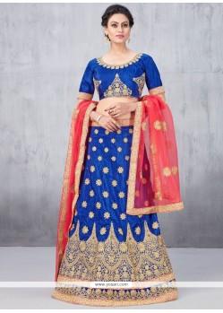 Graceful Blue Stone Work Art Silk Lehenga Choli