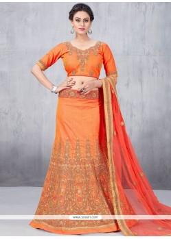 Strange Art Silk Orange Lehenga Choli