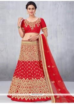 Mesmerizing Art Silk Red Lehenga Choli