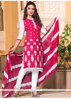 Baronial Leon Hot Pink Embroidered Work Churidar Suit
