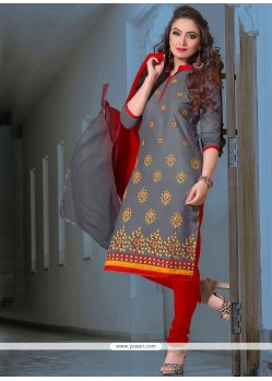 Remarkable Embroidered Work Leon Churidar Suit