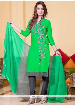 Invaluable Green Embroidered Work Leon Churidar Suit