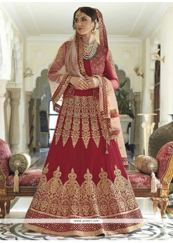 Irresistible Red Embroidered Work Floor Length Anarkali Suit