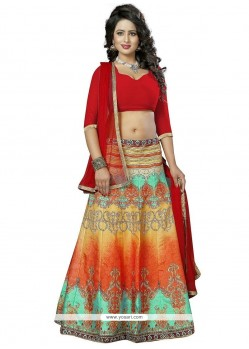 Enticing Print Work Multi Colour Lehenga Choli