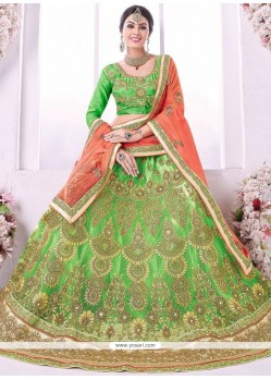 Wonderous Net Green Lehenga Choli