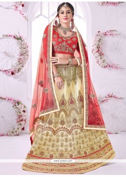 Magnetic Net Beige Lace Work Lehenga Choli