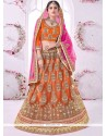 Suave Orange Resham Work Net Lehenga Choli