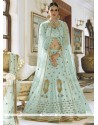 Enchanting Blue Resham Work Art Silk Long Choli Lehenga