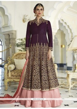 Lovely Purple Long Choli Lehenga