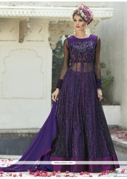 Demure Purple Resham Work Art Silk Designer Long Lehenga Choli