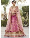 Sophisticated Net Pink Long Choli Lehenga