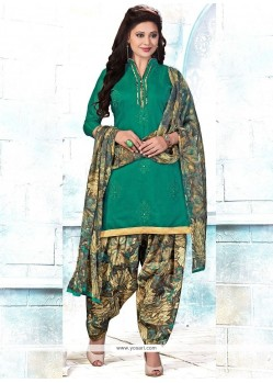 Nice Cotton Green Embroidered Work Punjabi Suit
