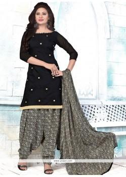 Adorning Embroidered Work Cotton Black Punjabi Suit