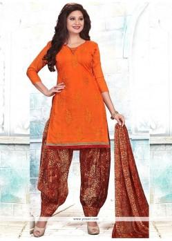 Jazzy Chanderi Orange Embroidered Work Punjabi Suit