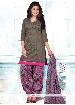 Staggering Cotton Embroidered Work Punjabi Suit