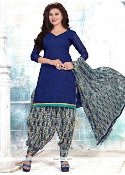 Trendy Chanderi Blue Punjabi Suit