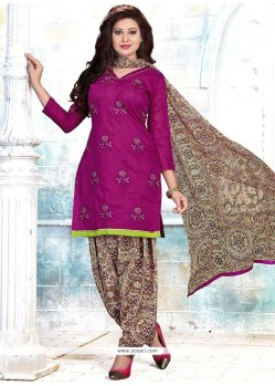 Princely Embroidered Work Pink Cotton Punjabi Suit