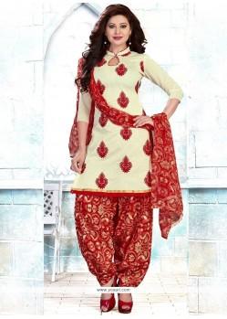 Capricious Chanderi Cream Embroidered Work Punjabi Suit