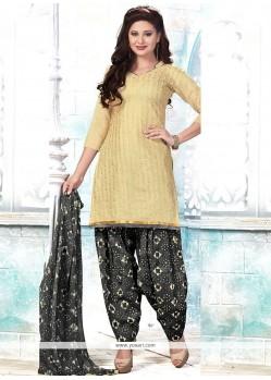 Integral Chanderi Beige Embroidered Work Punjabi Suit